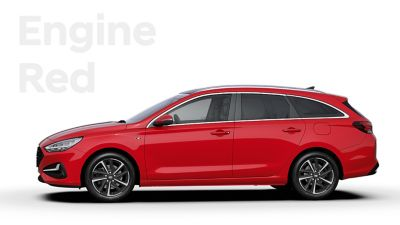The Hyundai i30 Wagon in the colourEngine Red.