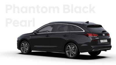 The Hyundai i30 Wagon in the colourPhantom Black Pearl.