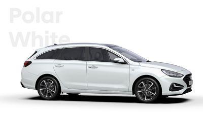 The Hyundai i30 Wagon in the colourPolar White.