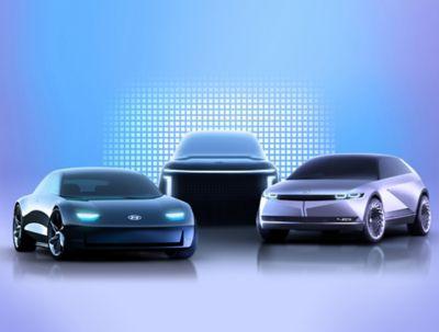 Rendering of the Hyundai IONIQ 5 and its future companions: IONIQ 6 and IONIQ 7.