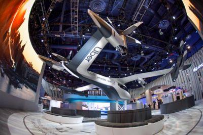Personlig luftfarkost sett fra siden på CES 2020. Foto.