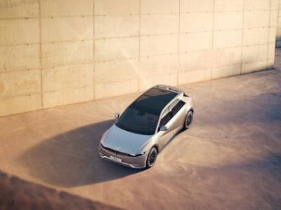 The solar roof on the Hyundai IONIQ 5 Project 45 all-electric CUV.