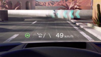 Il display head-up avanzato da 44'' nell'abitacolo del SUV Crossover compatto 100% elettrico Hyundai IONIQ 5.
