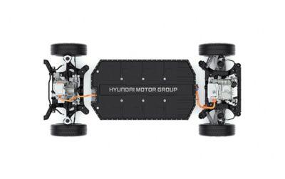 La posizione ribassata del motore di comando e della batteria nel SUV Crossover compatto 100% elettrico Hyundai IONIQ 5.