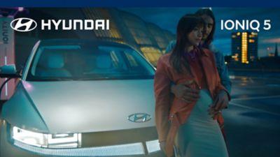 The Hyundai IONIQ 5 electric midsize CUV in a raindrop.