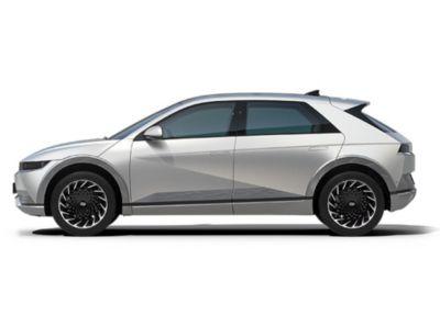 Manillares de apertura automática y líneas de diseño del lateral del Hyundai IONIQ 5 Eléctrico.