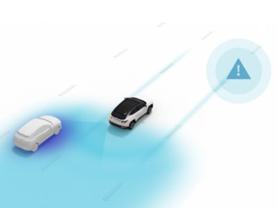 The Blind-Spot View Monitor (BVM) of the Hyundai IONIQ 5 electric midsize CUV.