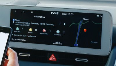 Navigation screen with Bluelink® Connected Car Services and Connected Routing in the Hyundai IONIQ 5 electric CUV.
