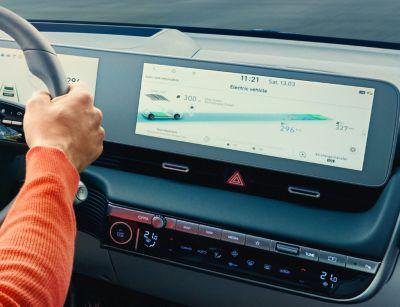 "The 12.25"" infotainment touchscreen inside of the Hyundai IONIQ 5 electric midsize CUV."