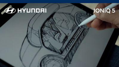 A sketch of the Hyundai IONIQ 5 electric midsize SUV.