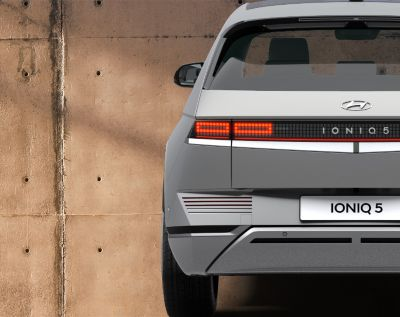 The Hyundai IONIQ 5 Project 45 all-electric compact SUV from the front with its iconic backlights.