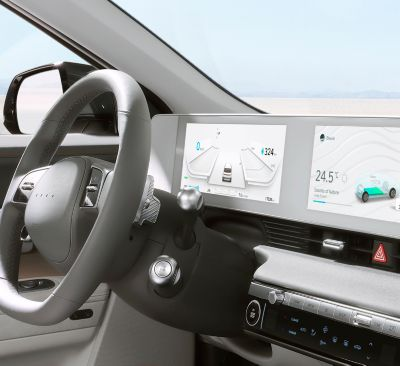 The fully digital 12.3'' cluster inside of the Hyundai IONIQ 5 Project 45 all-electric CUV.