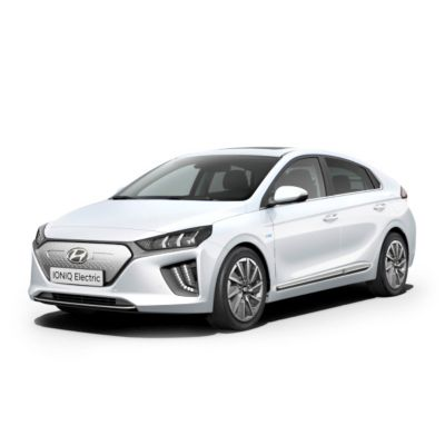 Image of the new IONIQ Electric pictured from the front.