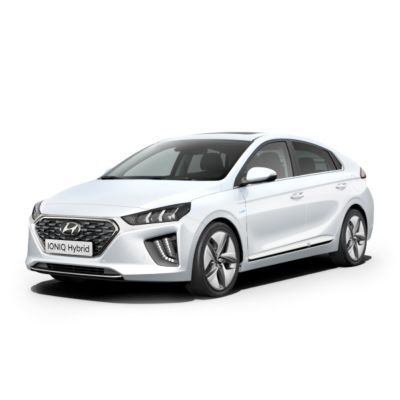 The new Hyundai IONIQ Hybrid shown from the side and front.