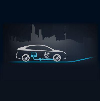 Animación del flujo de energía del inicio de marcha del nuevo Hyundai IONIQ Híbrido.