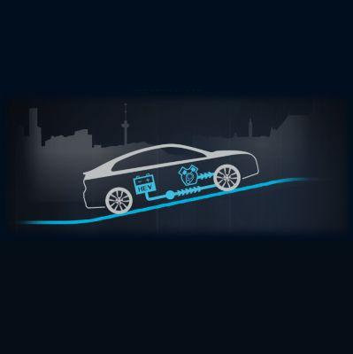 Animación del flujo de energía en la aceleración y subida del nuevo Hyundai IONIQ Híbrido.