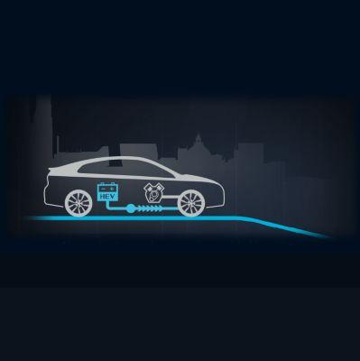 Animación del flujo de energía durante velocidad constante del nuevo Hyundai IONIQ Híbrido.