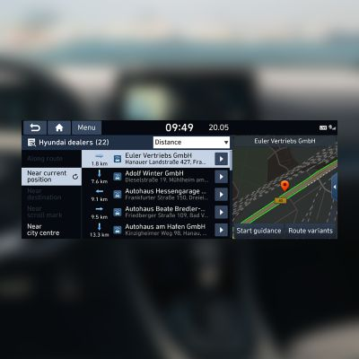 Screenshot of the dealership finder that's part of Hyundai's LIVE Services.