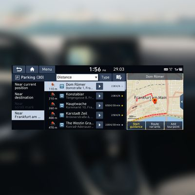 Screenshot of the street parking finder that's part of Hyundai's LIVE Services.
