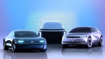 Three Hyundai IONIQ electric vehicles including the IONIQ 5.