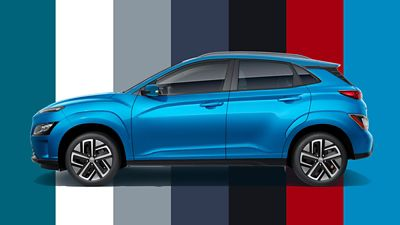 The colour range of the new Hyundai Kona Electric with six new colours.