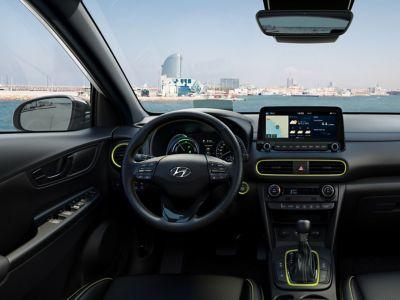 Dettaglio degli interni color Lime di Hyundai Kona Hybrid