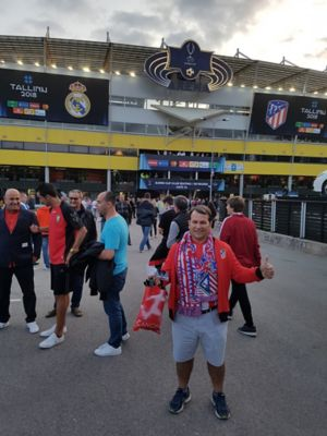 A photo of Atlético de Madrid fan José, who travelled to Tallinn to see his club play at the European Super Cup.
