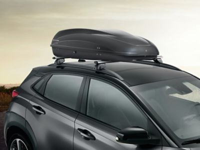Genuine Accessories roof box of the Hyundai Kona Electric.