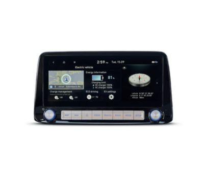 """Lo schermo del sistema di navigazione da 10,25"""" di Nuova Hyundai Kona Electric."""
