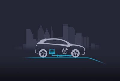 Il motore elettrico a supporto dell'accelerazione del SUV compatto Nuova Hyundai KONA Hybrid.