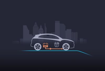 Il sistema di frenata rigenerativa carica la batteria mentre rallenta Nuova Hyundai KONA Hybrid.
