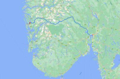 Reiseruten fra Oslo til Bergen via Hardangervidda.
