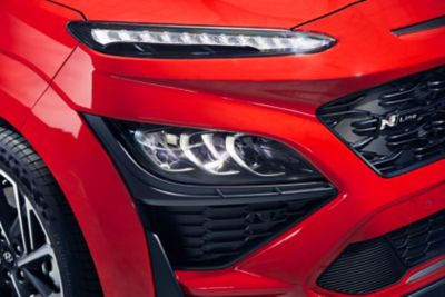 Focus on the new LED headlamps and Daylight Running Lights up top of the new Hyundai Kona N Line.