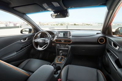 Wide-angle photo of the driver's seat in the all-new Hyundai Kona.