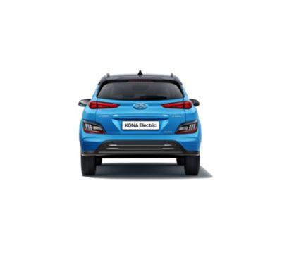 Immagine posteriore di Nuova Hyundai Kona Electric con il nuovo paraurti e skid plate.
