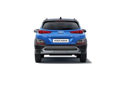 Immagine posteriore del SUV compatto Nuova Hyundai KONA Hybrid con il nuovo paraurti posteriore e il nuovo e robusto skid plate.