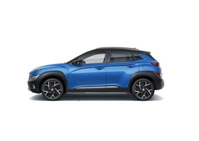 Immagine laterale del SUV compatto Nuova Hyundai KONA Hybrid con il suo profilo sportivo.