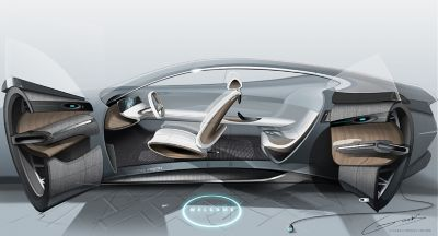Image of a 3D computer model of a Hyundai concept car.