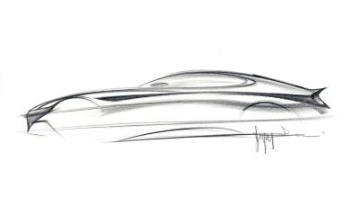 An initial pencil sketch of a concept car.