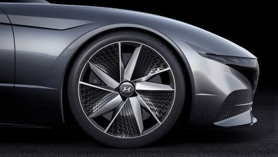 Rendering of the tyres of the 2018 Le Fil Rouge concept car.