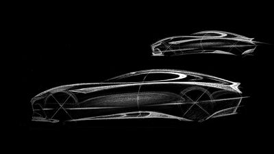 A more high-fidelity sketch of a concept car.
