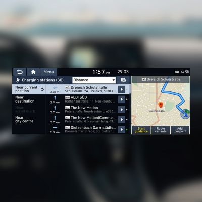 Screenshot of the charging station finder that's part of Hyundai's LIVE Services.