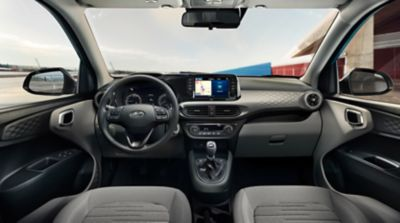 Close up view of the3D honeycomb dashboard panel in the Hyundai i10.