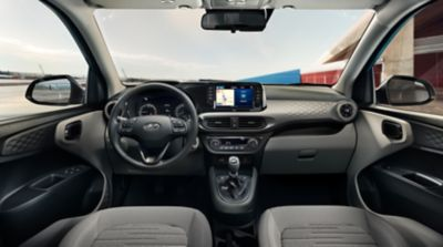 Close up view of the3D honeycomb dashboard panel inthe Hyundai i10.