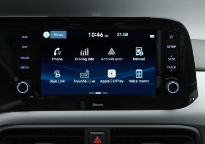 Close up view of the 8 inch touch screen in the Hyundai i10.