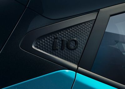 Hyundai i10 close up gevormde achterstijl.