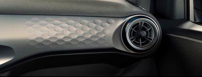 Stijlvolle ronde ventilatieopeningen in de Hyundai i10.