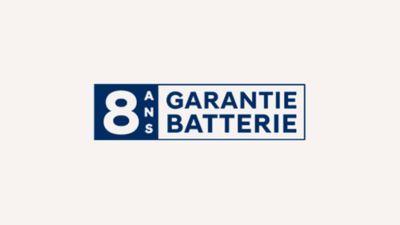 Logo de la garantie 8 ans de la batterie par Hyundai.