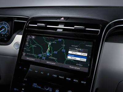 Connected Routing in the navigation system of the all-new Hyundai Tucson compact SUV.