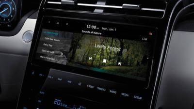 Zbliżenie na wnętrze Nowego Hyundaia Tucson Hybrid.